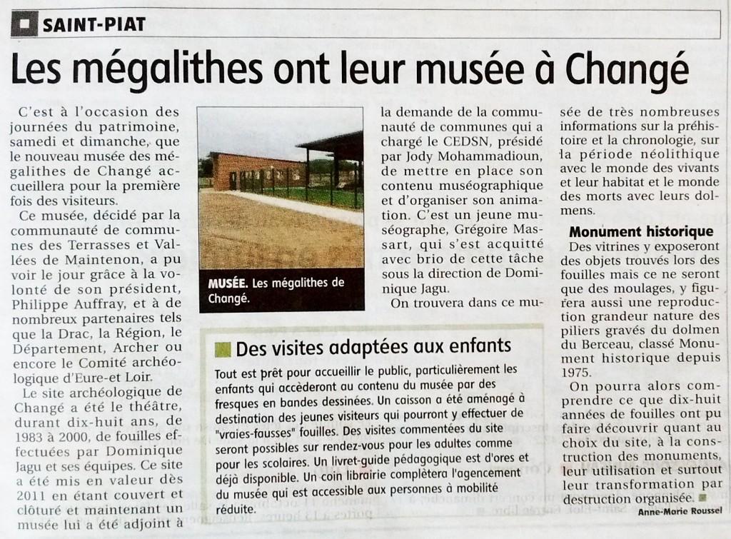 Article de l'Echo Républicain du 17/09/2015 - Les mégalithes ont leur musée à Changé